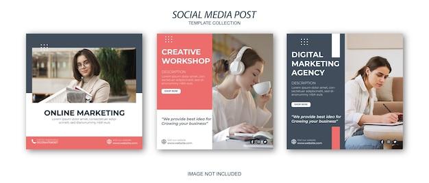 Agenzia di marketing digitale social media e modello di post di instagram