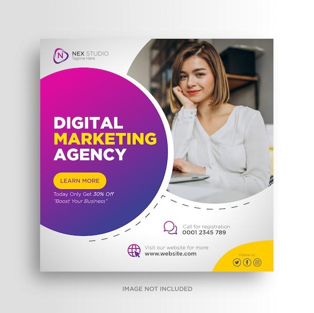 I social media dell'agenzia di marketing digitale pubblicano banner pubblicitari