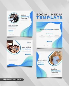 Modello di post sui social media dell'agenzia di marketing digitale nel concetto futuristico e dinamico.