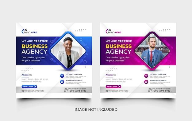 Agenzia di marketing digitale modello di post sui social media e set di modelli di banner web