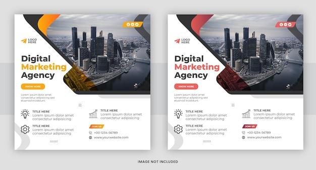 Agenzia di marketing digitale post sui social media e modello di banner web