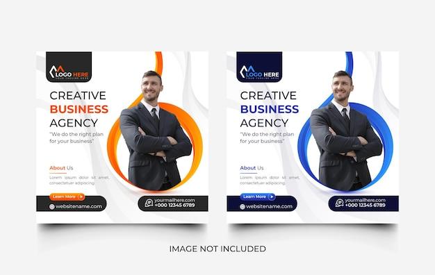 Agenzia di marketing digitale post sui social media e set di modelli di banner web