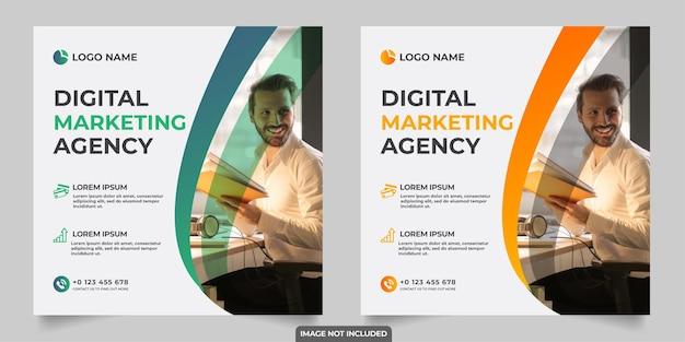 Post sui social media dell'agenzia di marketing digitale Vettore Premium
