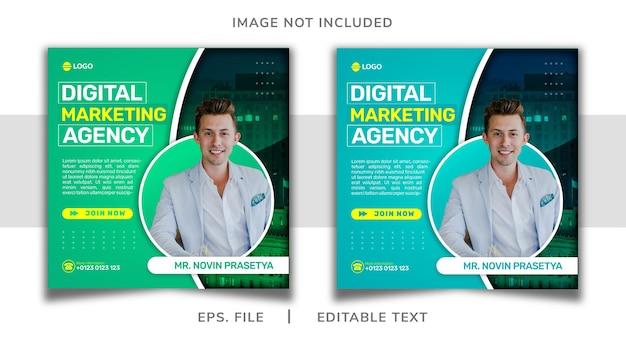 Promozione dei social media dell'agenzia di marketing digitale e design del banner del modello di instagram