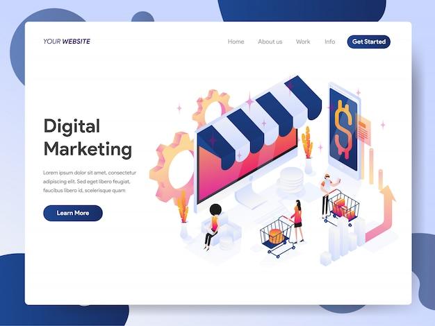Banner analista di marketing digitale della landing page Vettore Premium