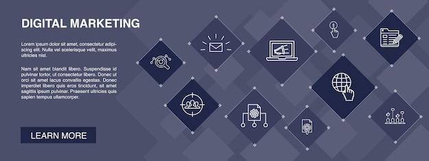 Banner marketing digitale 10 icone concept.internet, ricerche di mercato, campagna sociale, icone semplici pay per click