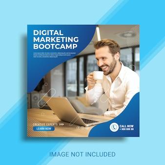 Bootcamp di marketing digitale e modello di post sui social media aziendali