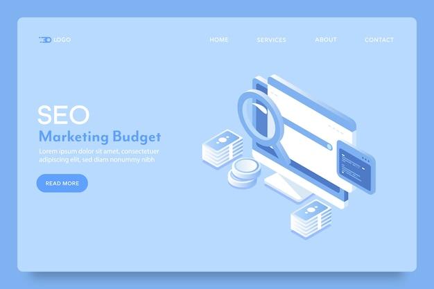 Pagina di destinazione del budget del marketing digitale
