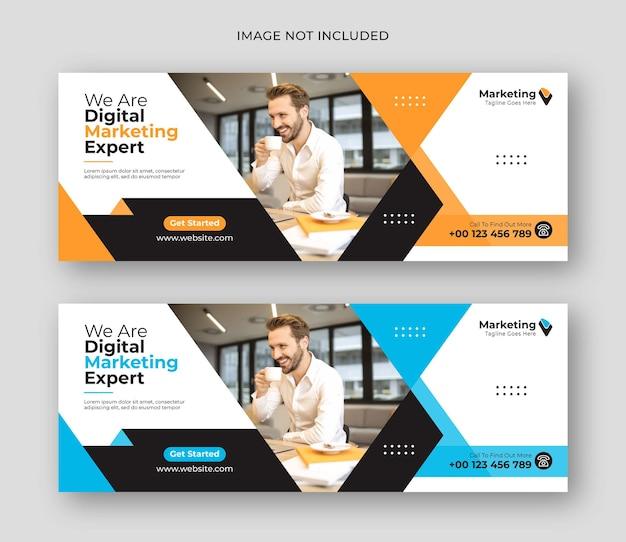 Modello di banner per social media di copertura aziendale di marketing digitale