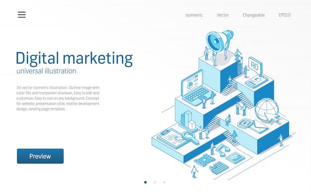 Marketing digitale. uomini d'affari, lavoro di squadra. strategia pubblicitaria mobile, illustrazione al tratto isometrico moderno seo. social media, contenuti virali