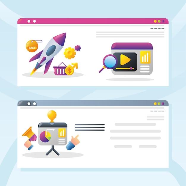 Attività di marketing digitale e social media, illustrazione di vettore del sito web di contenuti