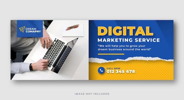 Banner web di copertina dei social media aziendali di marketing digitale