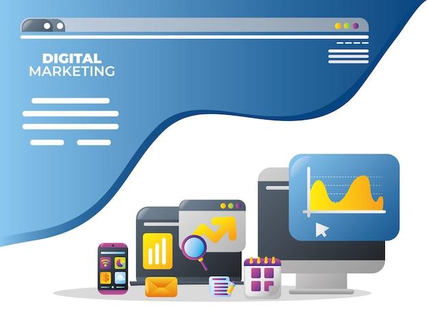 Digital marketing computer internet business email promozione mercato app illustrazione vettoriale