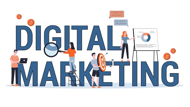 Banner di concetto di marketing digitale. social network e media communication. seo, sem e promozione online. illustrazione in stile