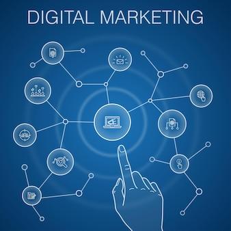 Concetto di marketing digitale, sfondo blu. internet, ricerche di mercato, campagne social, icone pay per click