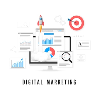 Concetto di marketing digitale. analisi dei dati. promozione seo.
