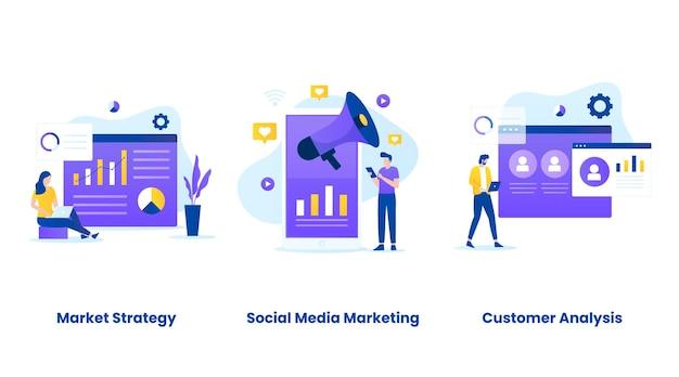 Insieme dell'illustrazione del concetto di marketing digitale