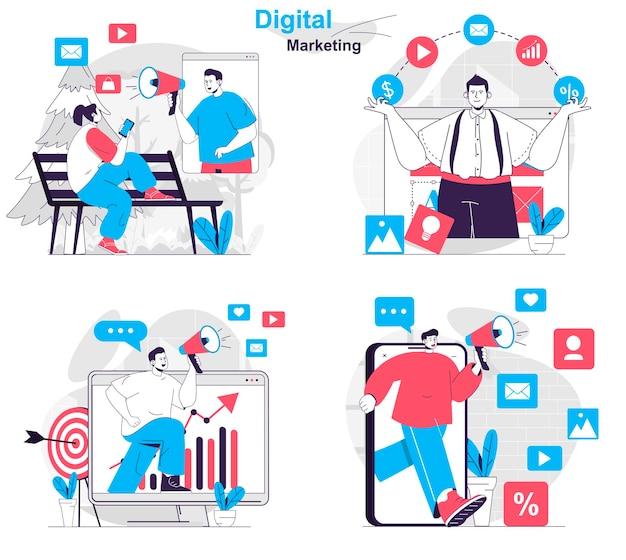 Set di concetti di marketing digitale campagna pubblicitaria nella promozione online dei social network