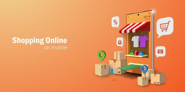 Concetto di marketing digitale, shopping online su applicazione mobile