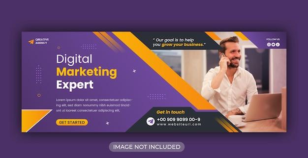 Modello di copertina facebook e banner web aziendale di marketing digitale