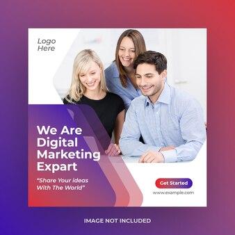 Modello di post sui social media di marketing digitale aziendale