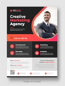 Modello di progettazione di volantini aziendali moderni aziendali di marketing digitale con colore rosa