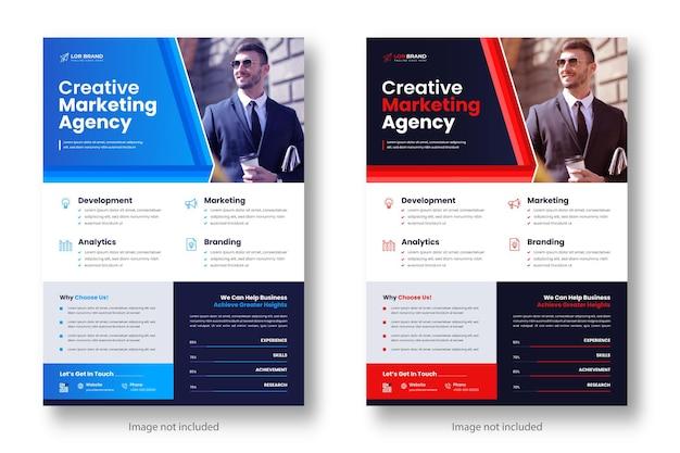 Modello di progettazione di volantini aziendali moderni aziendali di marketing digitale con colore rosso e blu