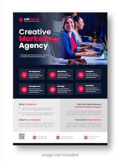 Modello di progettazione di volantini aziendali moderni aziendali di marketing digitale con colore rosso