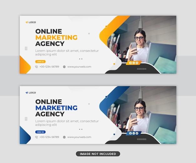 Progettazione del modello di banner web della copertina dei social media aziendali di marketing digitale