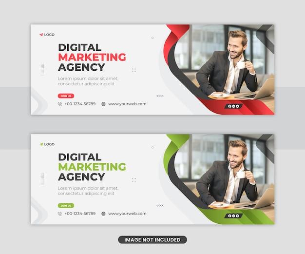 Modello di banner web di copertina di social media aziendali di marketing digitale