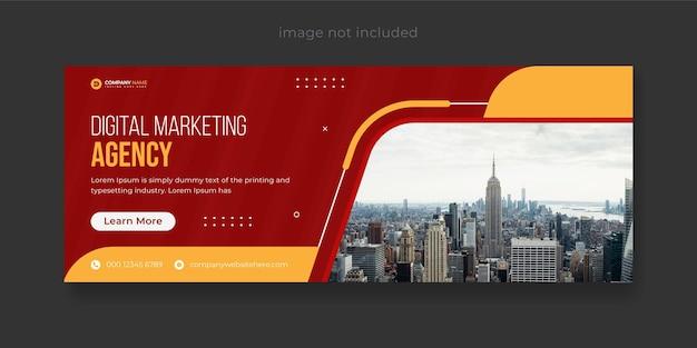 Modello di copertina di facebook dei social media aziendali di marketing digitale vettore premium