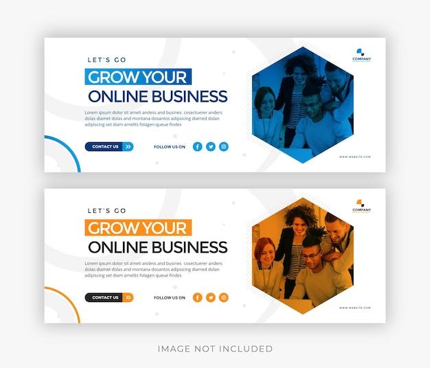 Vettore del modello di copertina di facebook dei social media aziendali di marketing digitale