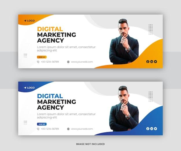 Progettazione del modello di copertina della timeline di facebook dei social media aziendali di marketing digitale