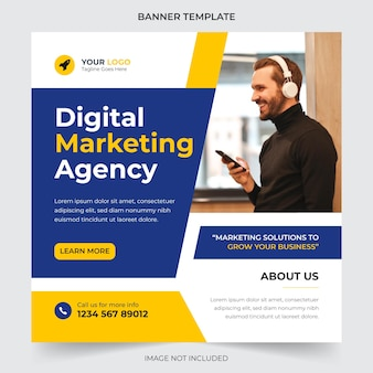 Marketing digitale e post sui social media aziendali e modello di progettazione banner web vettore premium