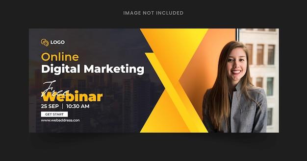 Banner web di webinar aziendale di marketing digitale e modello di post di copertina di facebook