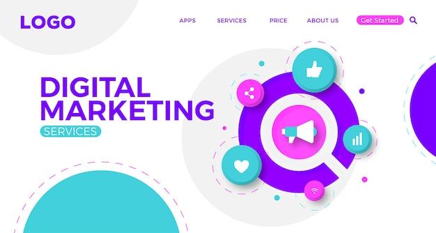 Progettazione del modello di banner web creativo di marketing digitale con icone moderne