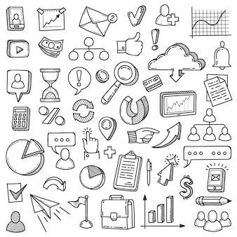 Scarabocchio di marketing digitale. gestione di internet per il mercato dei media. insieme di vettore di presentazione dell'innovazione del team di avvio della comunicazione del blog. schizzo delle icone di marketing digitale dell'illustrazione