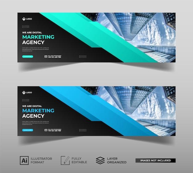 Pagina di copertina di facebook per il marketing digitale Vettore Premium