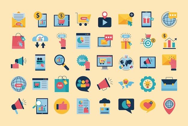 Progettazione del gruppo dell'icona di stile piano di marketing digitale, ecommerce e illustrazione di tema dello shopping online