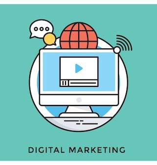 Icona di vettore piatto di marketing digitale