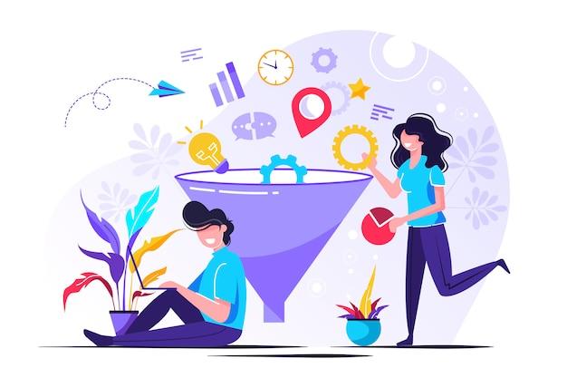 L'imbuto di marketing digitale guida la generazione con i clienti