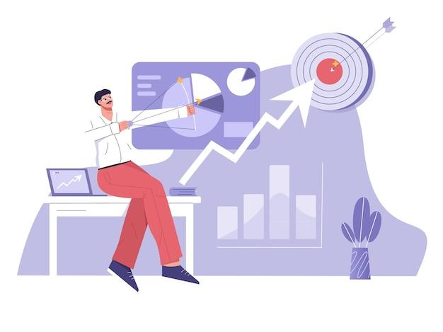 Il marketing digitale fa crescere il business verso l'illustrazione piatta dell'obiettivo