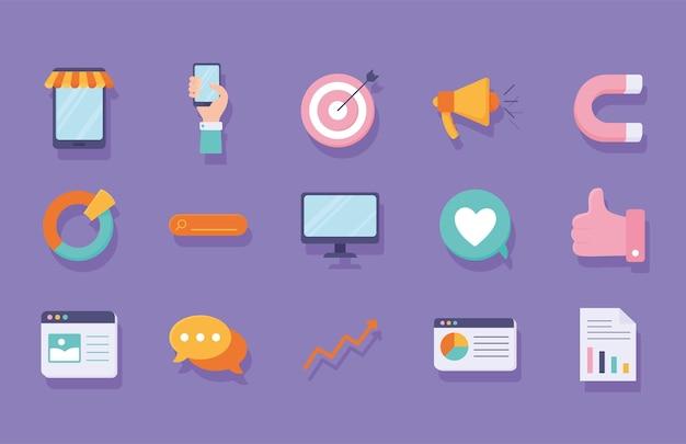 Icone di marketing digitale
