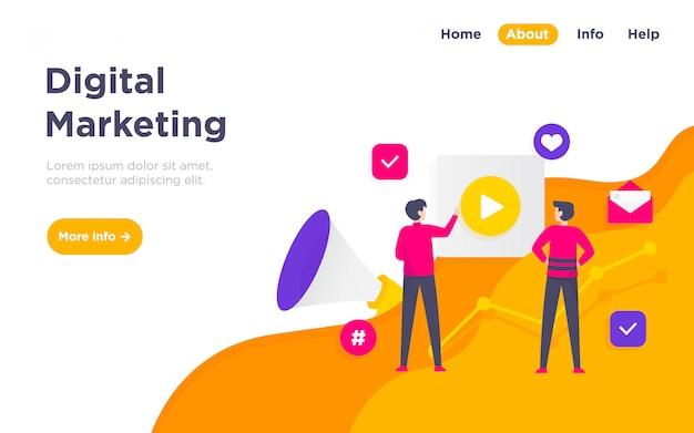 Pagina di destinazione dell'illustrazione di marketing digitale