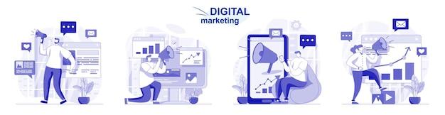 Set isolato di marketing digitale in design piatto le persone attirano nuovi clienti e promozione online