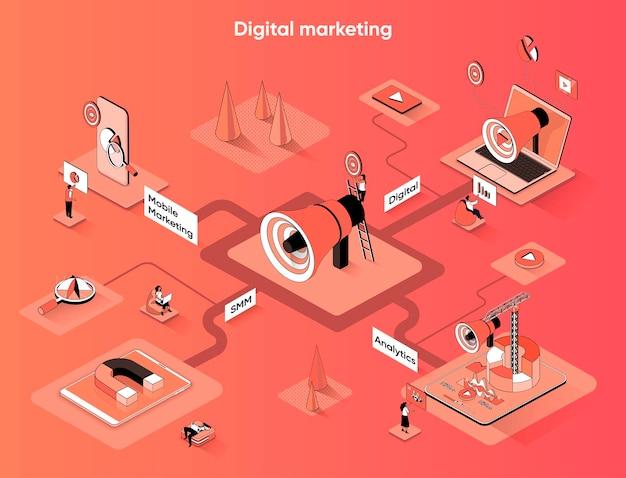 Isometria piana di banner web isometrico di marketing digitale