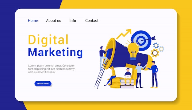 Modello di landing page di marketing digitale, design piatto