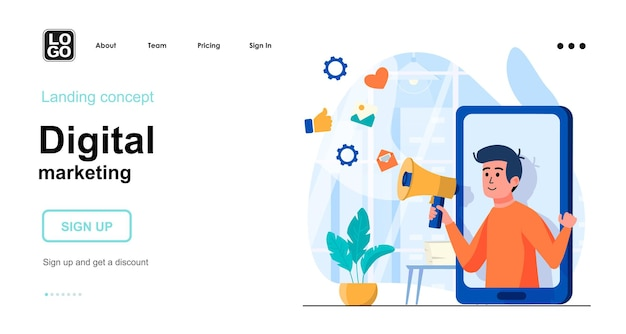 Modello di pagina di destinazione del marketing digitale con carattere di persone