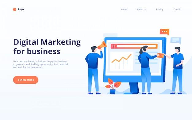 Landingpage marketing digitale, la gente lavora insieme, illustrazione vettoriale strategia aziendale.