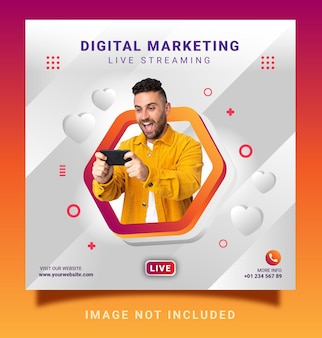 Modello di banner per social media post instagram in live streaming di marketing digitale digital